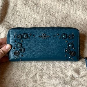 Coach Wallet with Willow Flowers and Star Rivets